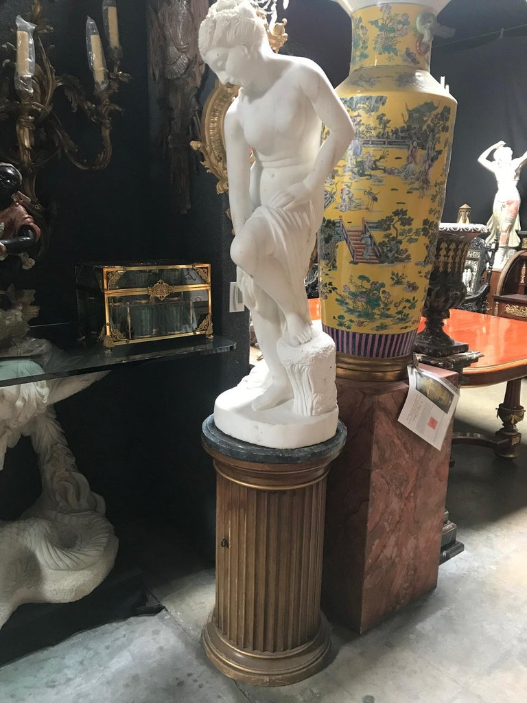 French Carved White Marble Figure of Nude Diana For Sale 7