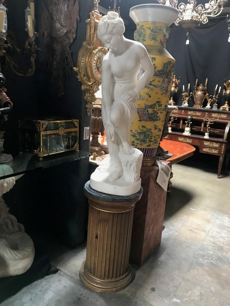 French Carved White Marble Figure of Nude Diana For Sale 8