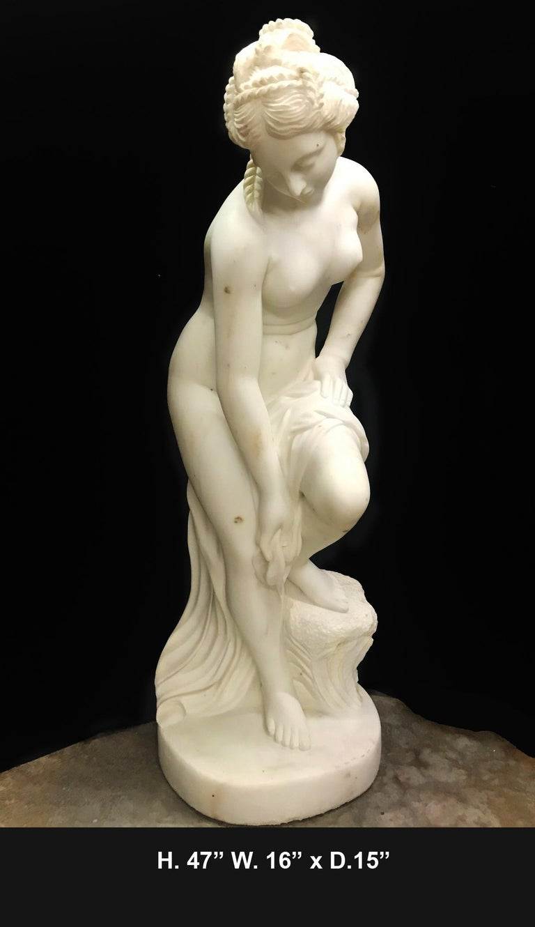Lovely French finely carved white marble figure of Nude Diana after bath,