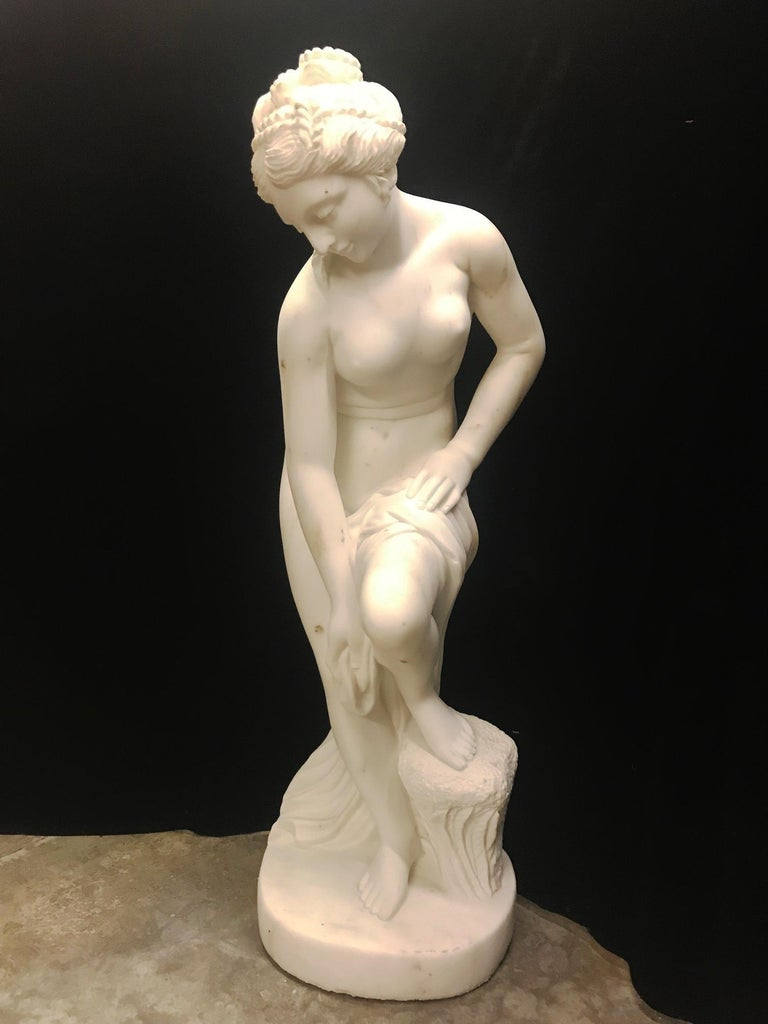 French Carved White Marble Figure of Nude Diana In Good Condition For Sale In Cypress, CA
