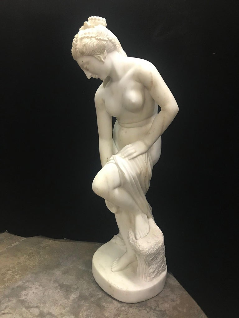 20th Century French Carved White Marble Figure of Nude Diana For Sale