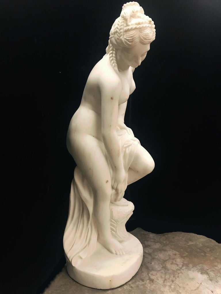 French Carved White Marble Figure of Nude Diana For Sale 1