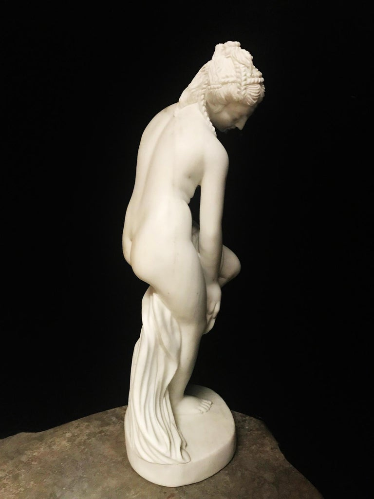 French Carved White Marble Figure of Nude Diana For Sale 2