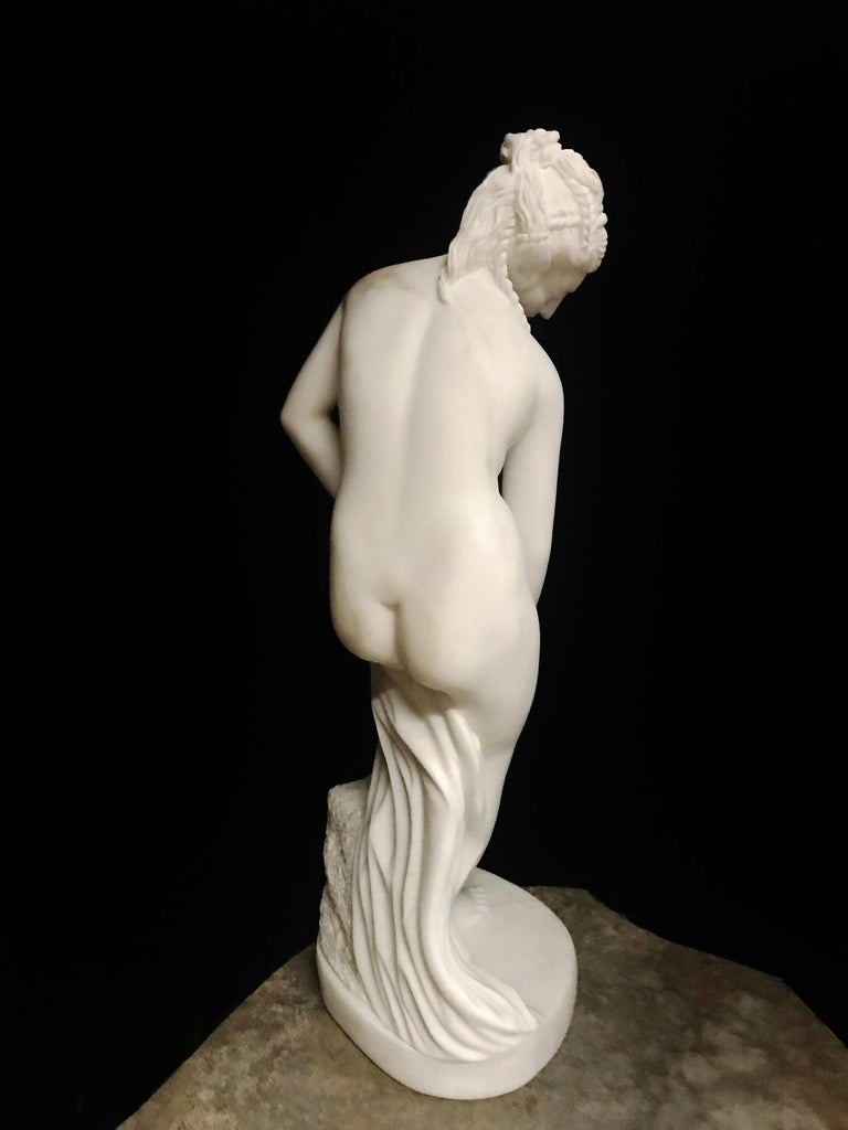 French Carved White Marble Figure of Nude Diana For Sale 3