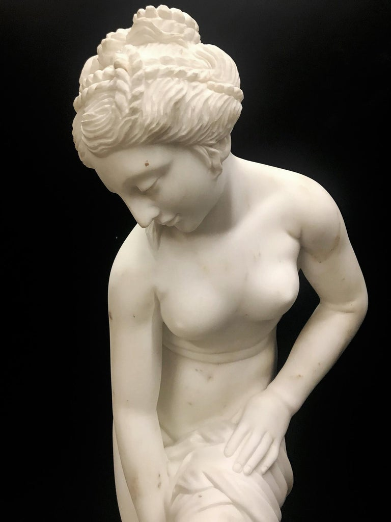 French Carved White Marble Figure of Nude Diana For Sale 4