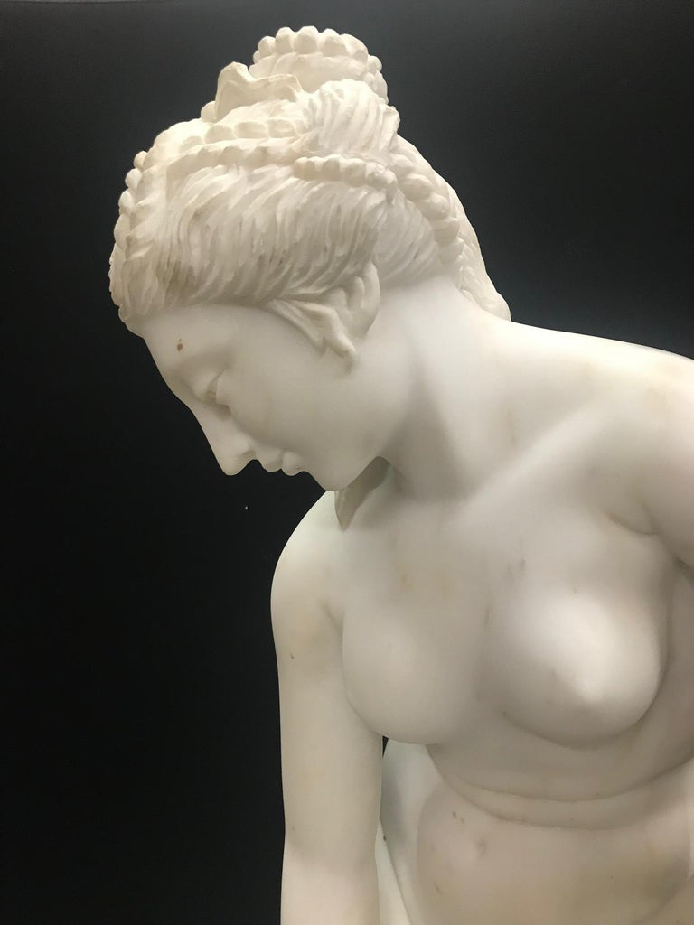 French Carved White Marble Figure of Nude Diana For Sale 5