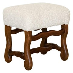 French Carved Wood and Shearling Ottoman