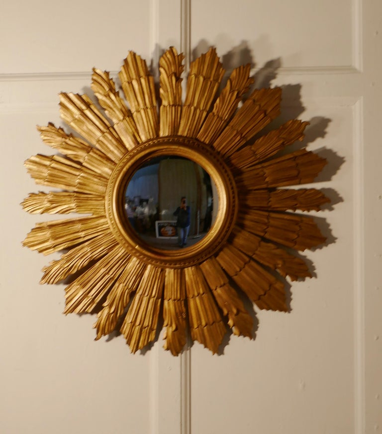 French Carved Wood Art Deco Odeon Style Sunburst Starburst