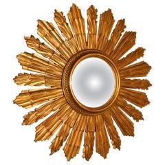 French Carved Wood Art Deco Odeon Style Sunburst-Starburst Convex Gilt Mirror