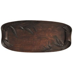 French Carved Wood Bread Platter with Ear of Wheat, circa 1900