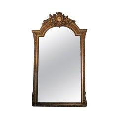French Carved Wood & Gilt Cherub Acanthus Wall Mirror. Circa 1820.