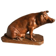 French Carved Wood Pig Sculpture, 19th Century
