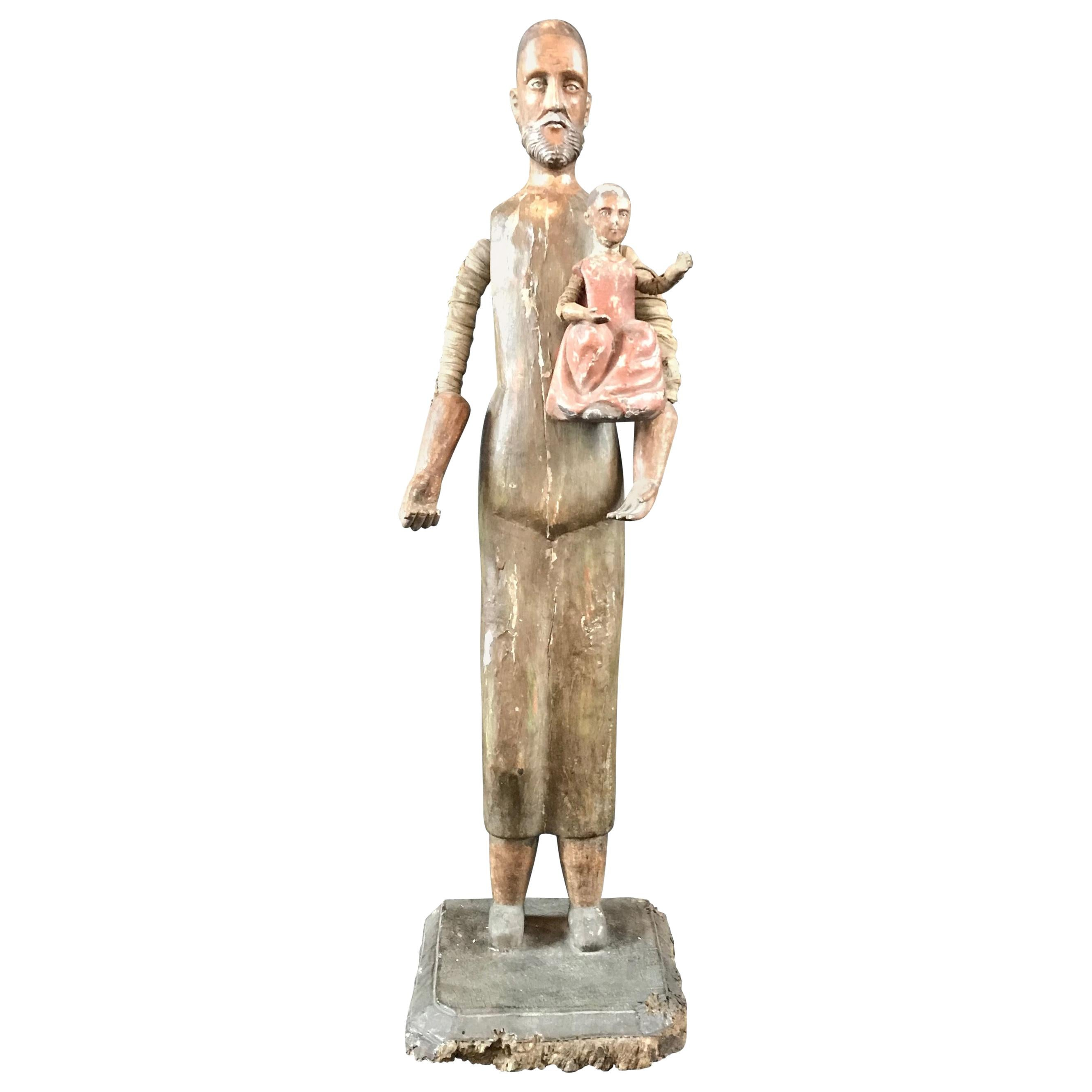 French Carved Wood Santos Figure Holding Child