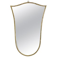 French Cast Brass Shield Form Mirror, Mid-20th Century