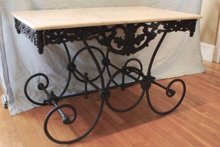 Belle Époque French Cast Iron and Marble Baker's Table For Sale