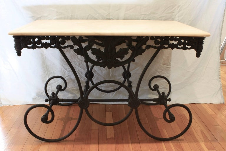 Painted French Cast Iron and Marble Baker's Table For Sale