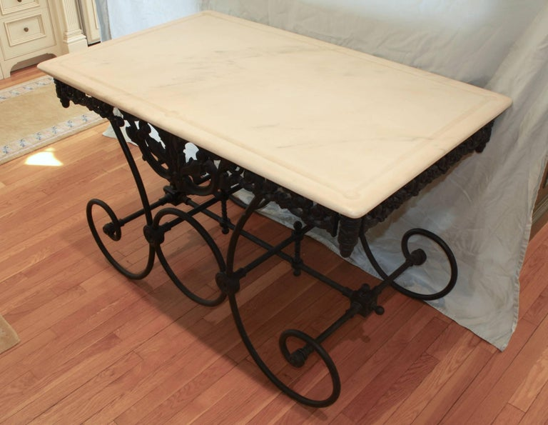 French Cast Iron and Marble Baker's Table In Good Condition For Sale In Pembroke, MA