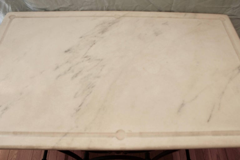20th Century French Cast Iron and Marble Baker's Table For Sale