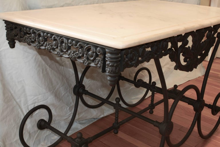 French Cast Iron and Marble Baker's Table For Sale 1