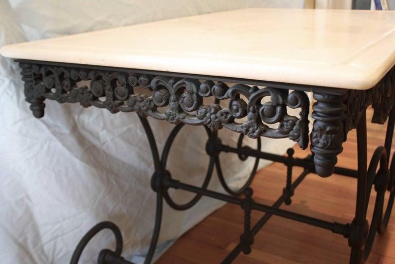 French Cast Iron and Marble Baker's Table For Sale 3