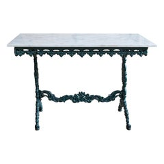 French Cast Iron and Marble Table