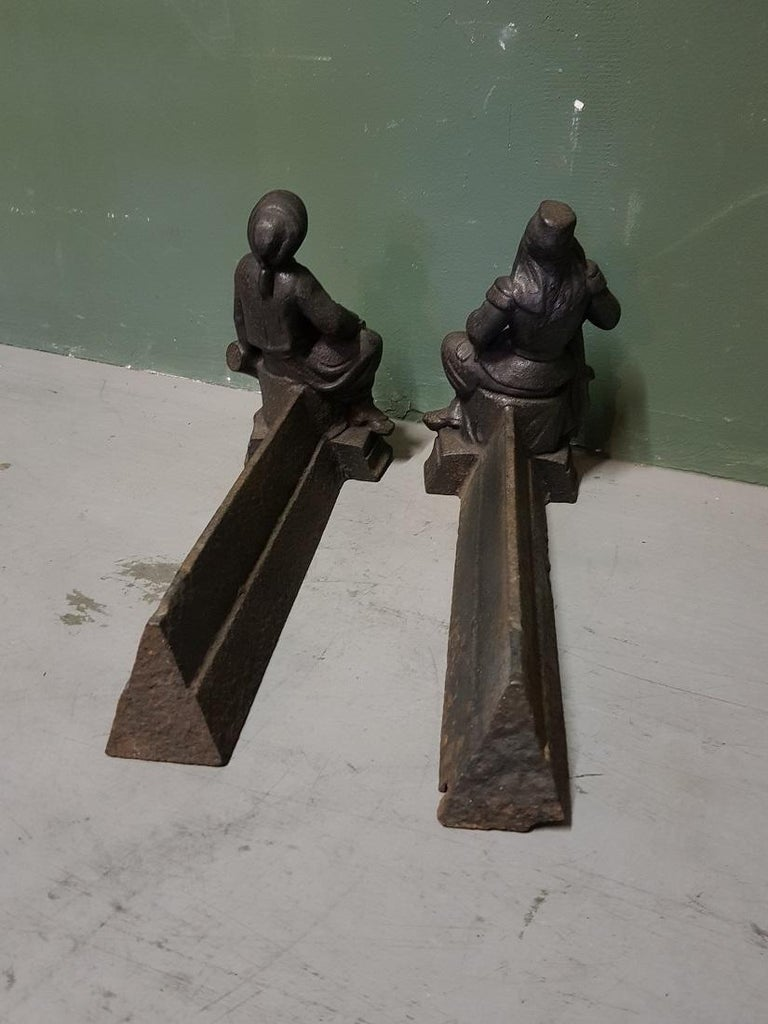 French Cast Iron Andirons with Persons Sitting on a Drum, Early 20th Century For Sale 2