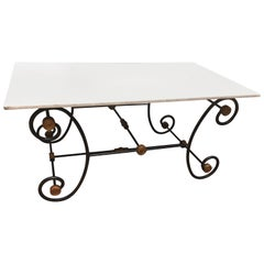 French Cast Iron Bakers Table with White Marble Top, 19th Century