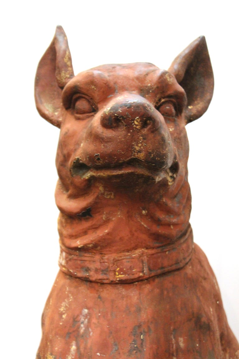 French Cast Iron Beauceron Dog Statues For Sale 5