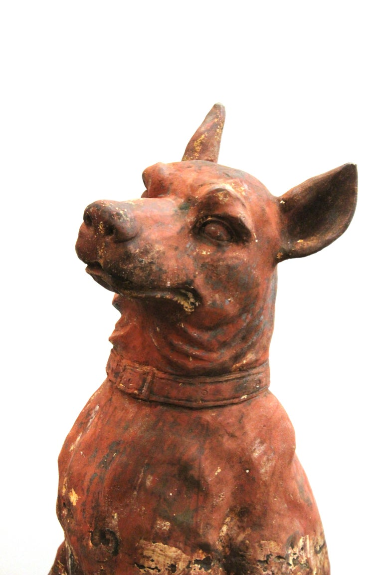 French Cast Iron Beauceron Dog Statues For Sale 10