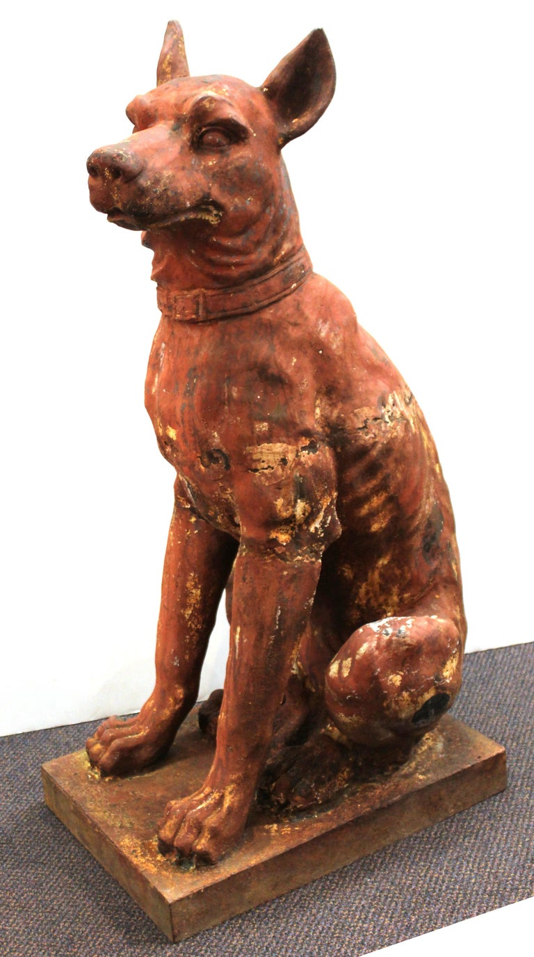 Neoclassical Revival French Cast Iron Beauceron Dog Statues For Sale