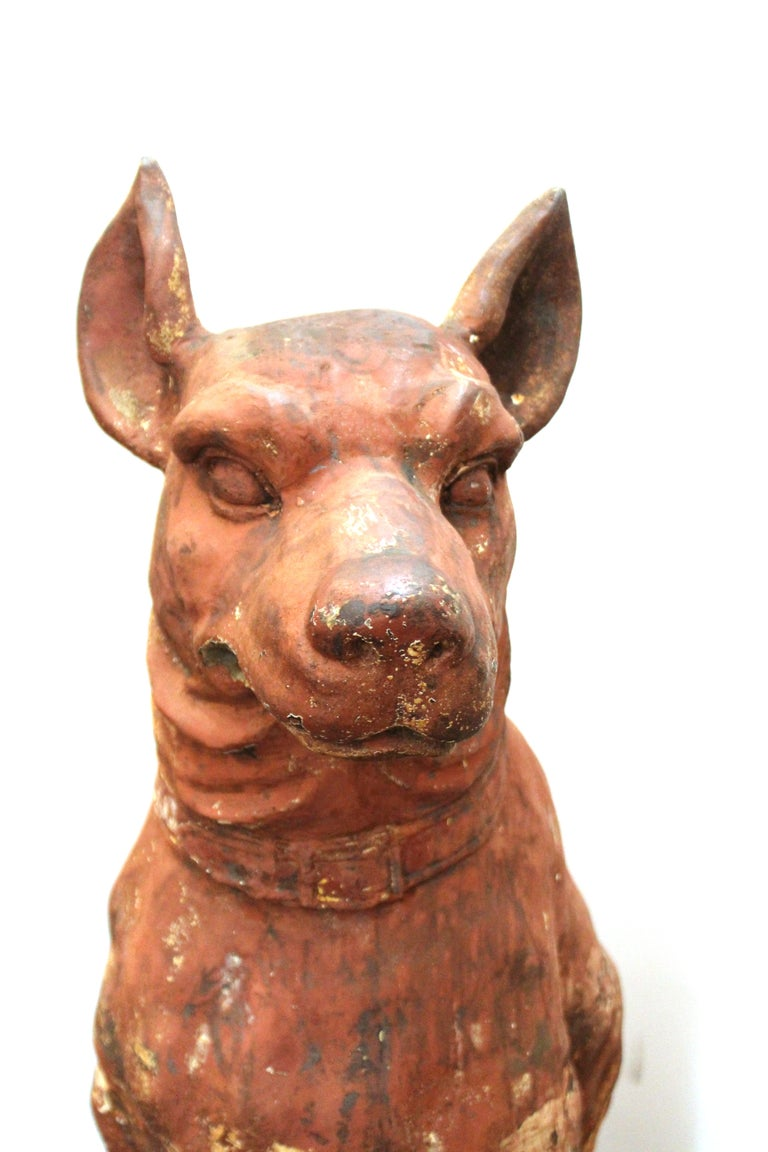 19th Century French Cast Iron Beauceron Dog Statues For Sale
