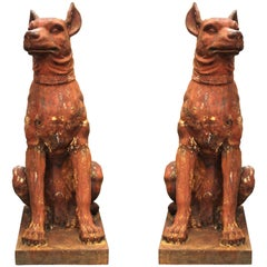 French Cast Iron Beauceron Dog Statues