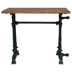 French Cast Iron Bistro Garden Table with Parasol-Holder, 19th Century