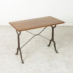French Cast Iron Bistro Table or Cafe Table with Oak Top, circa 1920