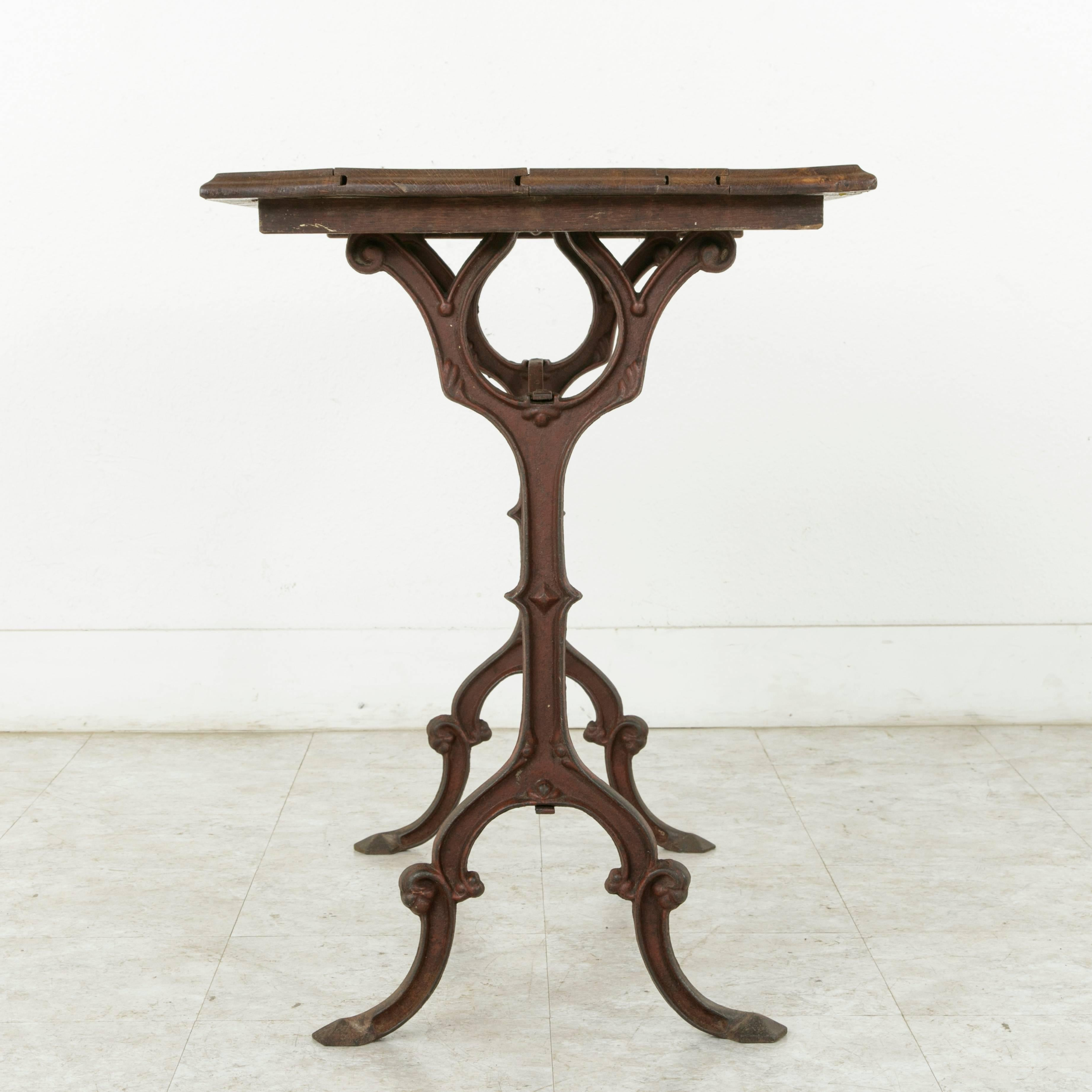 French Cast Iron Bistro Table Or Cafe Table With Oak Top, Circa 1900 For  Sale