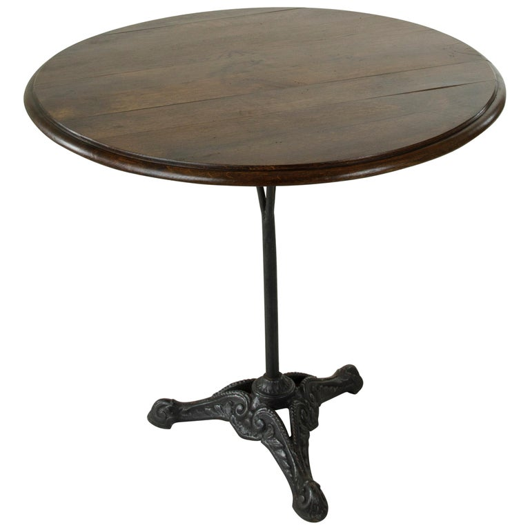 French Cast Iron Bistro Table or Cafe Table with Round Walnut Top, circa 1900 For Sale