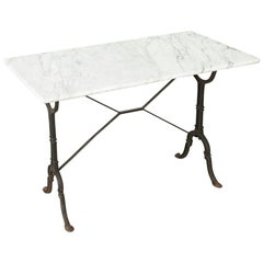 French Cast Iron Bistro Table or Outdoor Garden Table with Marble Top circa 1900