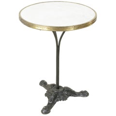 French Cast Iron Bistro Table with Marble Top and Brass Banding, circa 1900