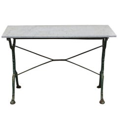 French Cast Iron Cafe Table with Marble Top