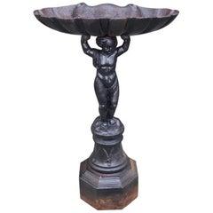 French Cast Iron Figural Shell Bowl Bird Bath on Octagonal Plinth, Circa 1870