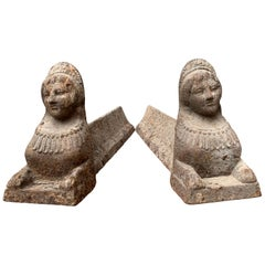 French Cast Iron Firedog Andirons of Sphinx Sculptures, Empire Period