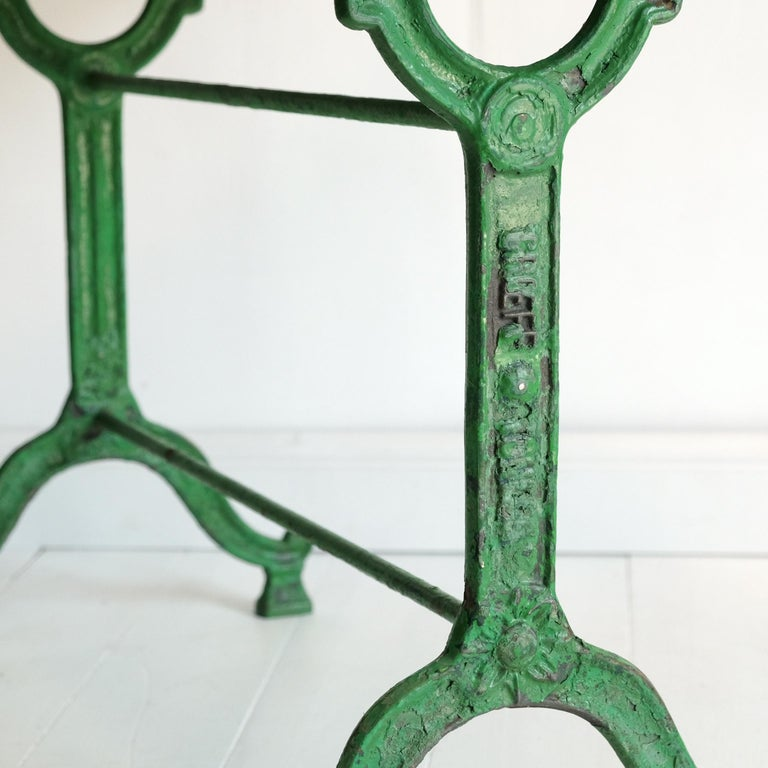 Industrial French Cast Iron Garden Table, Green, 19th Century, Bistro, Outdoor, Ornate For Sale