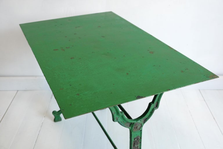French Cast Iron Garden Table, Green, 19th Century, Bistro, Outdoor, Ornate In Good Condition For Sale In Darlington, GB