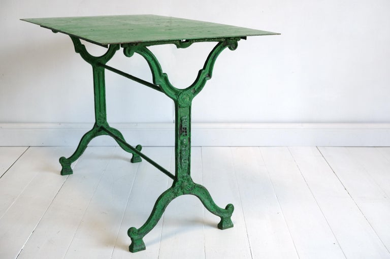 French Cast Iron Garden Table, Green, 19th Century, Bistro, Outdoor, Ornate For Sale 1
