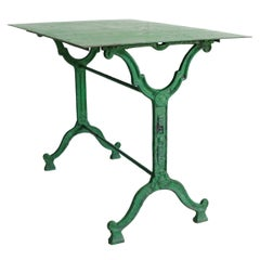 French Cast Iron Garden Table, Green, 19th Century, Bistro, Maker's Mark