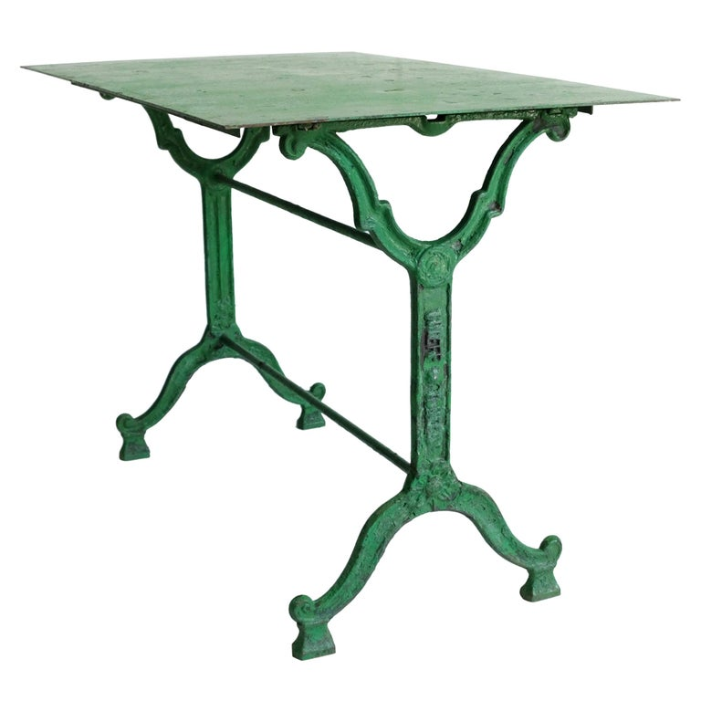 French Cast Iron Garden Table, Green, 19th Century, Bistro, Outdoor, Ornate For Sale