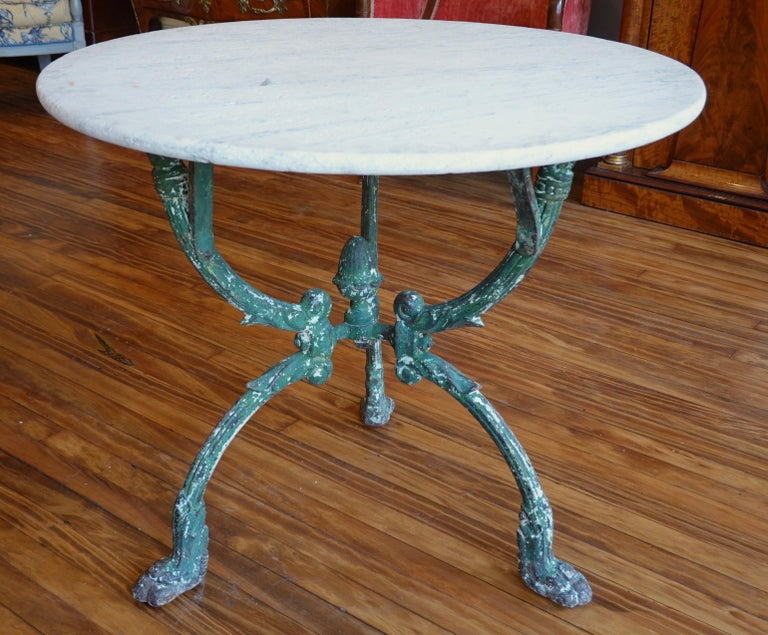 Neoclassical French Cast Iron Garden Table with Marble Top and Decorative Tripod Base For Sale