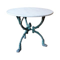 French Cast Iron Garden Table with Marble Top and Decorative Tripod Base