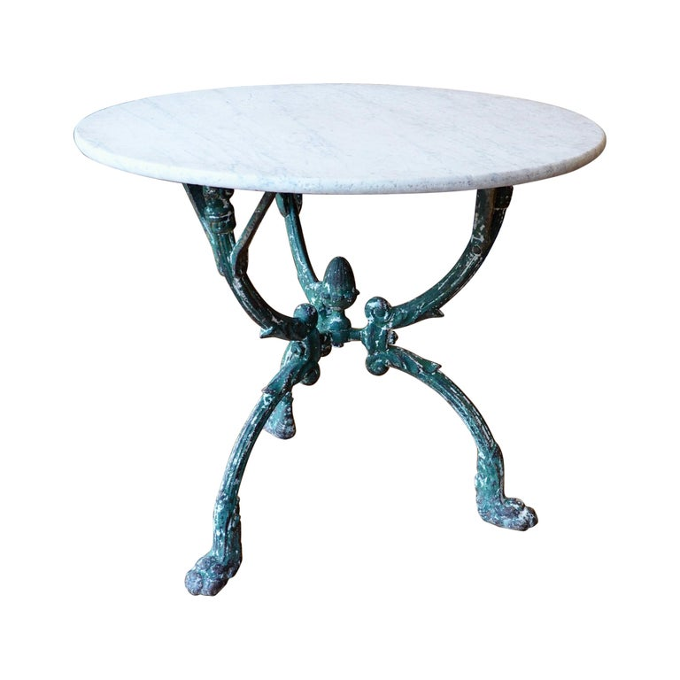French Cast Iron Garden Table with Marble Top and Decorative Tripod Base For Sale