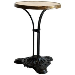 French Cast Iron Marble Bistro Garden Table, EW Depose, Art Deco, 1920s, Outdoor
